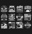coffee cups espresso machine latte mugs beans vector image vector image