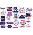 collection 4th july phrases slogans vector image