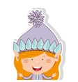 color image with half body gnome blonde girl vector image vector image