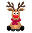 cute cartoon red nosed reindeer toy rudolph vector image