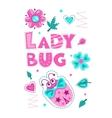 Cute girlish with funny ladybug vector image vector image