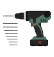Electric cordless hand drill with bits Green and vector image vector image