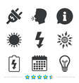 electric plug sign lamp and battery low vector image