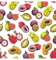 Exotic and tropical fruits pattern vector image