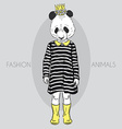 fashion of cute panda girl kid vector image