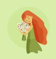 girl with orange hair hugs flowers vector image vector image