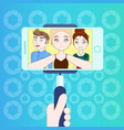 group of young people taking selfie with smart vector image vector image