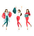 happy shopaholic girl shopping for christmas vector image