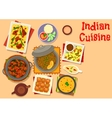 Indian cuisine dinner with pumpkin cake icon vector image vector image