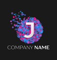letter j logo with blue purple pink particles vector image vector image
