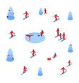 lot of people skiing and skating on white vector image vector image