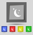 moon icon sign on original five colored buttons vector image vector image