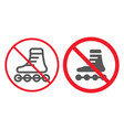 no roller skates line and glyph icon prohibition vector image vector image