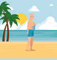 Old man walking along the beach design