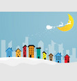 reindeer flying over colorful city with moon in vector image vector image