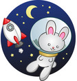 rocket ship bunny rabbit cartoon vector image vector image