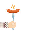 sausage on fork in hand vector image vector image
