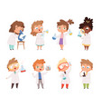 science kids children in chemistry lab boys vector image vector image