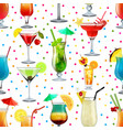 seamless background with tropical alcoholic vector image