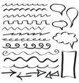 set hand drawn border lines vector image