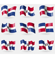 Set of Dominican Republic flags in the air vector image