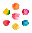 set of rainbow watercolor stains on white vector image