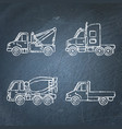 set truck icons sketches on chalkboard vector image