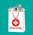 shopping bag with medical pills and bottles vector image vector image