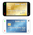 smartphone with a credit card in an interface vector image vector image