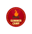 summer camp fire logo flat style vector image