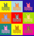 swimming pool sign pop-art style colorful vector image