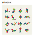 tangram children brain game cutting transformation vector image vector image
