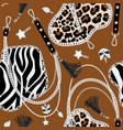 tiger chains seamless pattern vector image