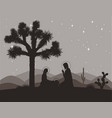 unusual nativity scene with joshua tree saint vector image vector image