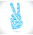 victory sign design group of people vector image vector image