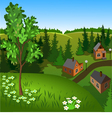 View of landscape of summer town from hill vector image vector image