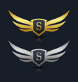 wings shield letter s logo template vector image vector image