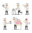 cute cook cartoon character set man cooking vector image
