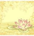 Vintage grunge paper background with lotus flower vector image