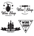 wine shop vintage emblems labels badges and logos vector image