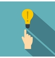 A finger pointer and light bulb icon flat style vector image