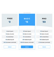 pricing plans for websites and applications vector image