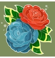 two roses old-school styled vector image
