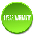 1 year warranty green round flat isolated push vector image vector image