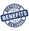 benefits blue grunge round vintage rubber stamp vector image vector image