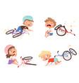 bike accident kids fallen damaged bicycle broken vector image vector image