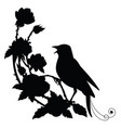 black silhouette nightingale and flower vector image vector image