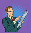businessman and smartphone with big screen vector image vector image