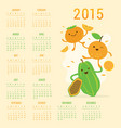 calendar 2015 fruit cute cartoon papaya orange per vector image vector image