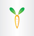 carrot with green rabbit ears vector image vector image